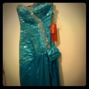 Turquoise Beaded Sequined May Queen Gown 4